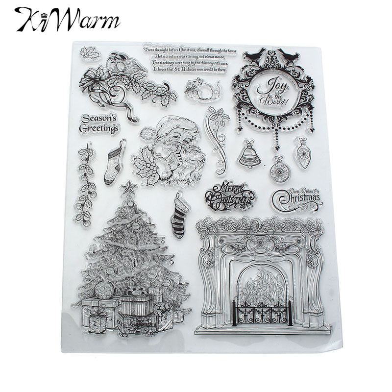 Modern Christmas Santa Claus Fireplace Transparent Silicone Clear Stamps for Scrapbook Photo Album Cards Hand Account DIY Decor new 2 inch water flow sensor hall flow meter turbine flowmeter high quality free shipping