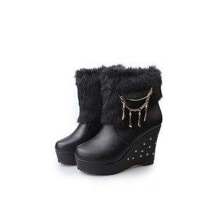 Image 3 - Cuculus 2020 Winter Faux Fur Fashion Wedges Heels Women Shoes Woman Boots Platform Warm Snow Luxury Femme Ladies Boot White 1034