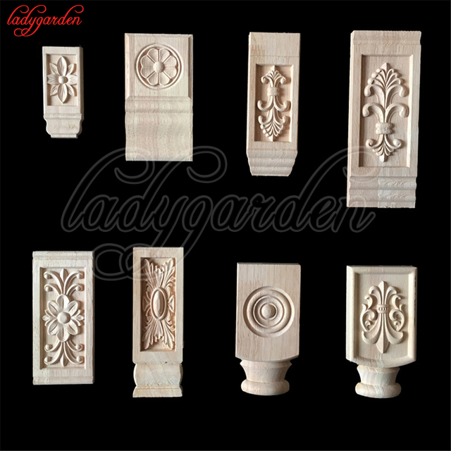 Wood Appliques Flower Carving Decals Decorative Wooden Mouldings Cabinet  Door Furniture Architecture Decoration Kitchen Cabinets