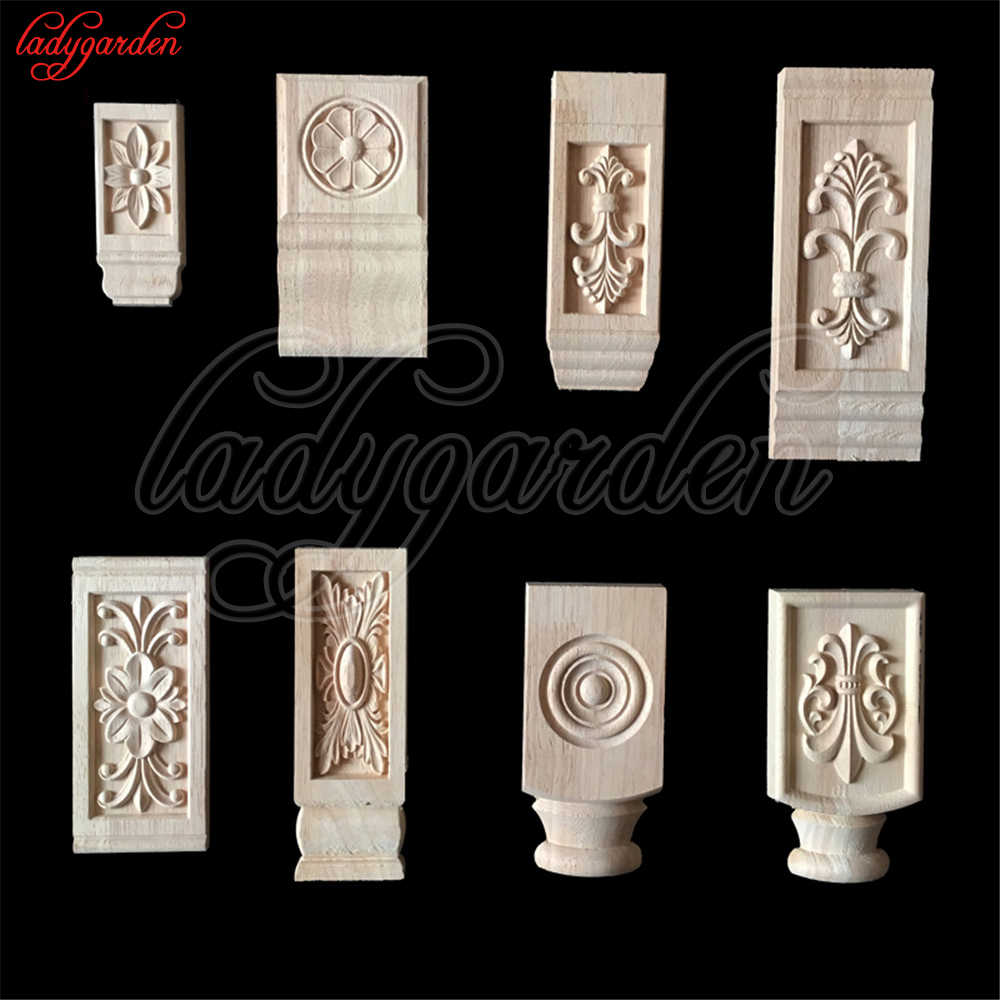 Wood Liques Flower Carving Decals Decorative Wooden