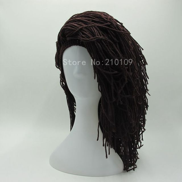 New Novelty Women's Hats Funny Long hair Brown Wig Cap Gorros Halloween Birthday Unique Gifts Handmade Knit Warm Winter Beanies