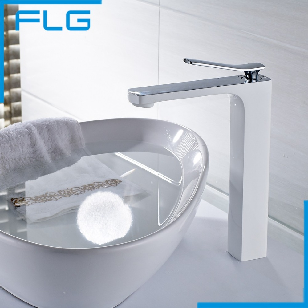 Free Shipping Bathroom Faucet Grilled white paint Chrome Finish Brass Basin Sink Faucet Mixer Tap Single Handle us free shipping wholesale and retail chrome finish bathrom sink basin faucet mixer tap dusl handle three holes wall mounted