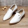 Nuevo 2017 llegan los hombres brogues pisos oxfords zapatos de punta estrecha de cuero genuino transpirable zapatos de vestir de boda tamaño: 38-43