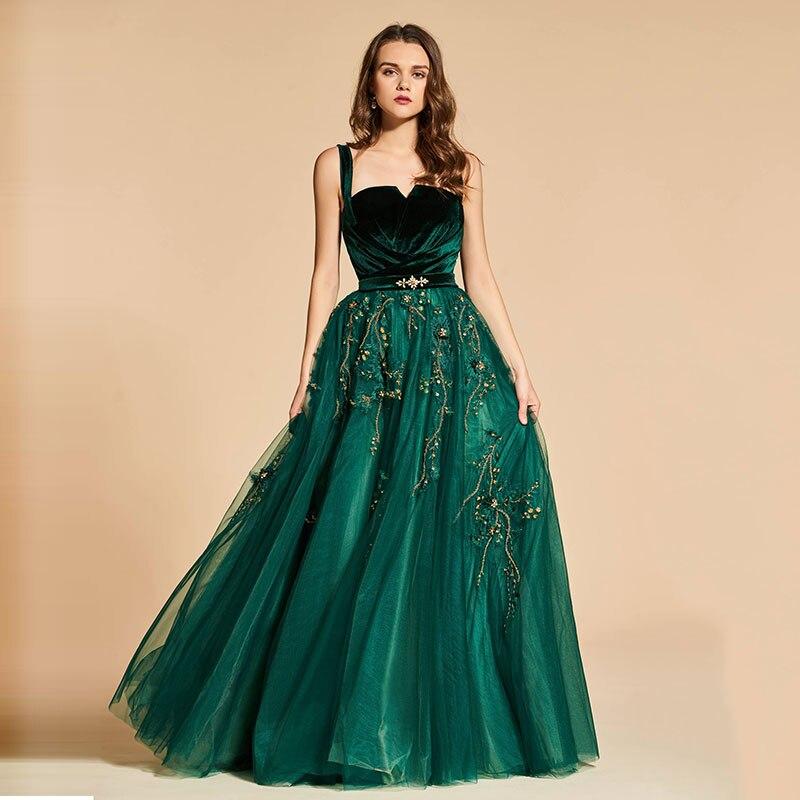 Tanpell vintage   evening     dress   straps beading velvet floor length a line gown women prom custom formal long   evening     dresses