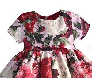 Image 3 - ファッション花の女の子のパーティードレス赤綿子供子供ドレスゴールデンクラウン弓女の子の服パーティー結婚式