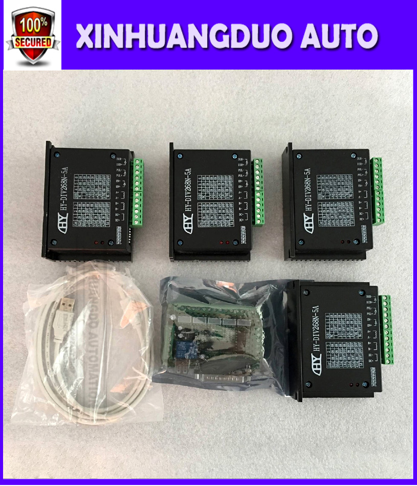 CNC Router 4 Axis Kit,TB6600 4 Axis mach3 Stepper Motor Driver Controller  kit 5A + one 5 axis breakout board for nema23 motors
