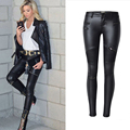 Olrain Women's Denim Skinny Stretch Low Waist Pants Motorcycle Biker Punk Faux PU Leather Pencil Pants Multi Zipper