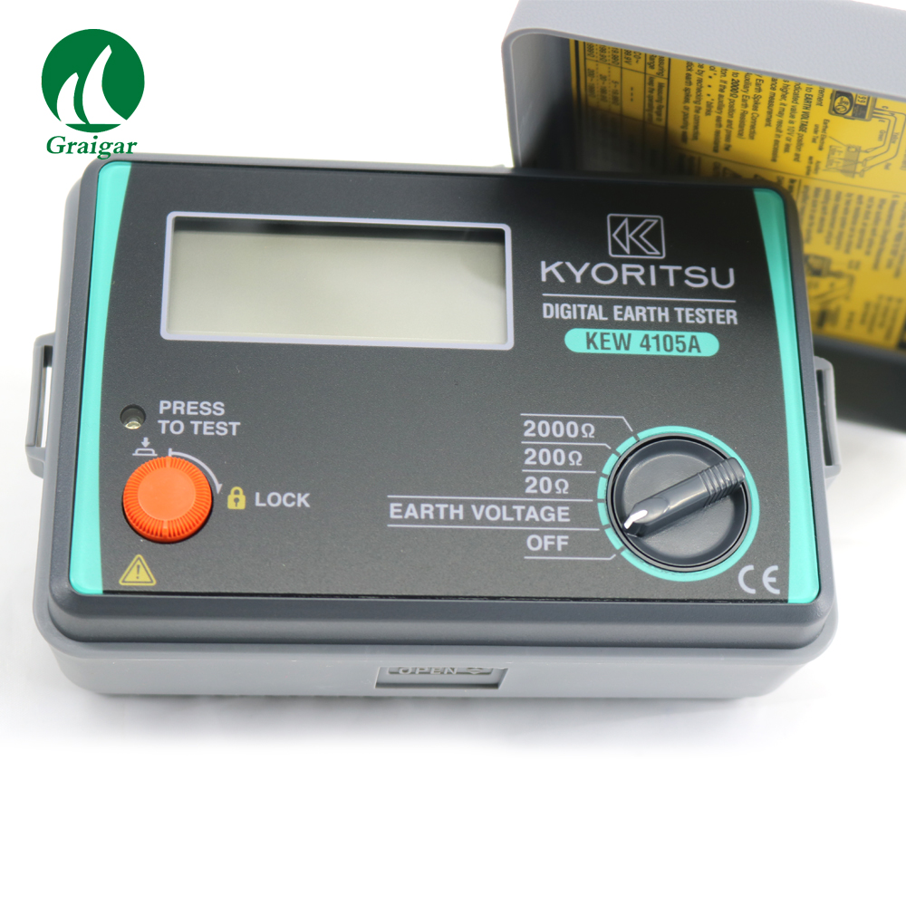 Portable Digital Display Earth Resistance Tester KYORITSU 4105A-H 2mA Measuring Current Permits Earth Resistance Tests image