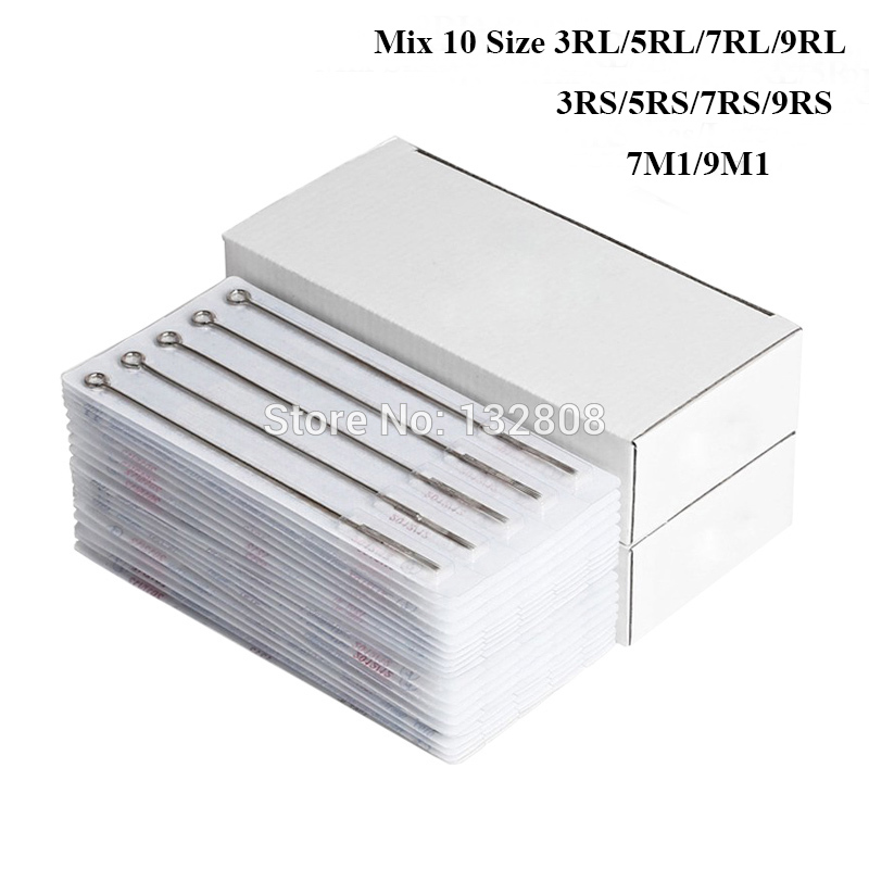 New 50pcs Assorted Sterilized Tattoo Needles Mixed 10 Sizes 3RL 5RL 7RL 9RL 3RS 5RS 7RS 9RS 7M1 9M1 Free Shipping free shipping 50pcs mje15033g 50pcs mje15032g mje15033 mje15032 to 220