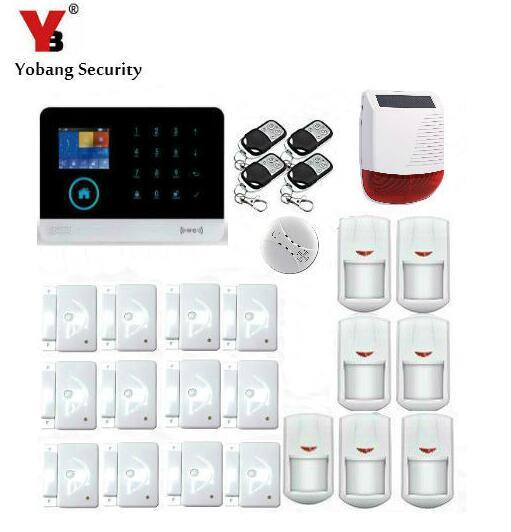 Yobang Security Metal Remote Control Android IOS APP WIFI GSM Alarm System Sensor kits With Strobe Solar Siren Smoke Alarm