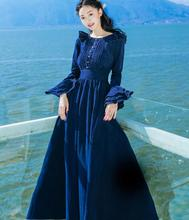Free Shipping Elegant 2017 Spring New Arrival Corduroy Flare Sleeve Woman Long Dress