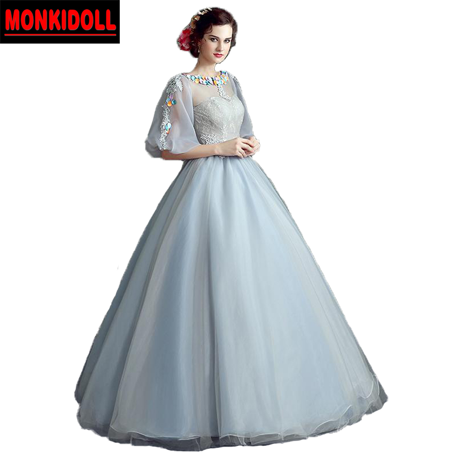 Dusty Blue Vintage Puffy Prom Dresses With Sleeves Illusion Sexy ...