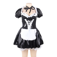 Sexy Women's Nite French Maid Cosplay Costume Women Halloween Costumes Exotic Servant Cosplay Dress Plus Size Costume