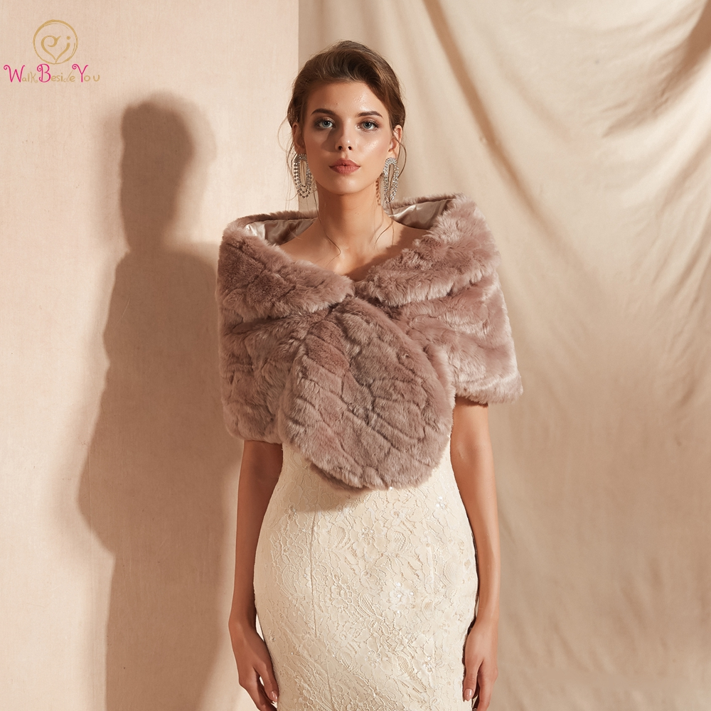 Us 21 27 11 Off Fur Stole Bridal Bolero Ladies Shrug Faux Fur Shawl Wedding Jacket Walk Beside You Evening Party Capes Feather Wrap Dark Pink In