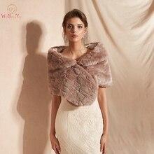 Fur Stole Bridal Bolero Nữ Nhún Vai Faux Lông Khăn Choàng Đám Cưới Áo Khoác Đi Bộ Bên Cạnh Bạn Bên Buổi Tối Áo Choàng Lông Bọc Tối màu hồng