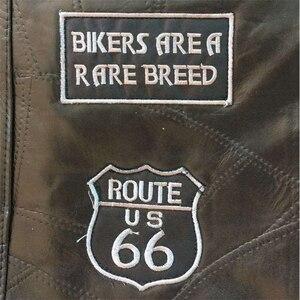 Image 4 - Letter Embroidery Motorcycle Leather Vest Men Spring New Fashion Punk Sleeveless Jacket V Neck Plus Size Waistcoats YT50106