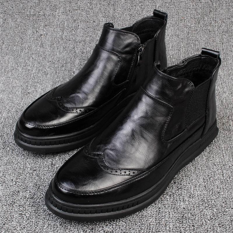 100% Wahr Britischen Herren Mode Runde Kappe High Top Brogue Schuhe Designer Slip Auf Chelsea Kurze Ankle Boot Für Mann Schwarz Martin Boot