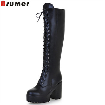 b43a580ed9ff COOTELILI Fashion Zipper Flat Shoes Woman High Heel Platform PU Leather  Boots Lace up Cow Muscle Shoes Martin Boots Girls 35-40 - zuzuly review