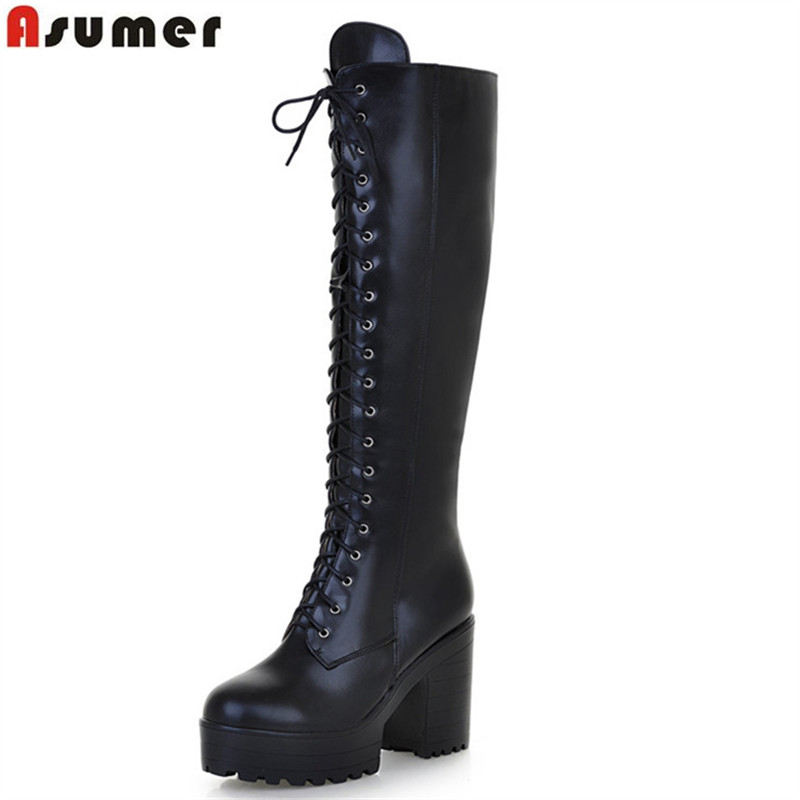 ASUMER 2018 hot sale new arrive women boots fashion solid color ladies boots zipper lace up knee high boots big size 34-43 asumer 3 colors new big size 34 43 women boots winter fashion lace up knee high boots sexy woman shoes snow motorcycle boots