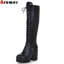 ASUMER 2018 hot sale new arrive women boots fashion solid color ladies boots zipper lace up knee high boots big size 34-43