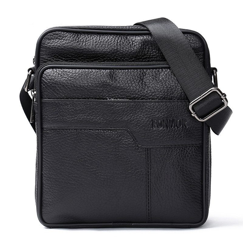 Man Cow Leather Shoulder Bags Brand Retro Zipper Crossbody Bags for Men High Quality Leather Travel Messenger Bag