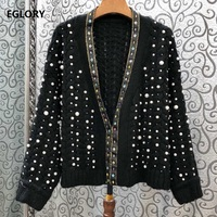 2019 Autumn Fashion Sweater Cardigans Women Pearl Beading Long Sleeve Knitted Cardigan Jacket Ladies Casual Tops Coat Outwear