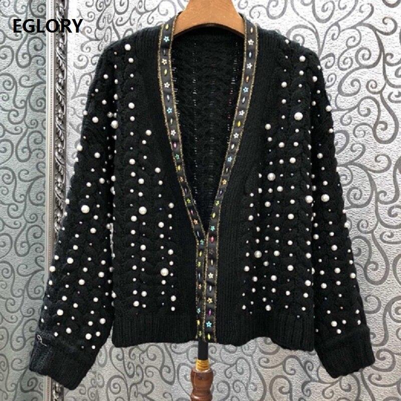 2019 automne mode chandail Cardigans femmes perle perles à manches longues tricoté Cardigan veste dames décontracté hauts manteau Outwear