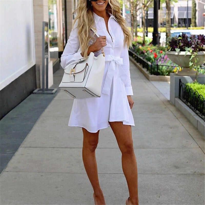 8eb7c3f5292 ... 2018 модные женские туфли платье-рубашка с длинными рукавами Осень Плюс  Размеры Элегантные платья Лидер ...
