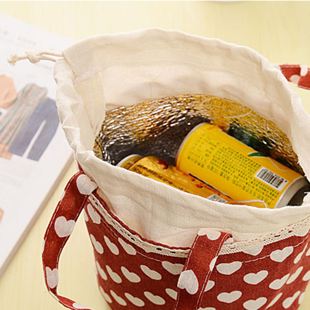 Outdoor Sports Camping Food Bags Durable Linen Cotton Insulation Large Lunch Handbag Belt Belt Bags Lunch Bags
