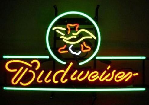 Custom Budweiser American Eagle Glass Neon Light Sign Beer Bar