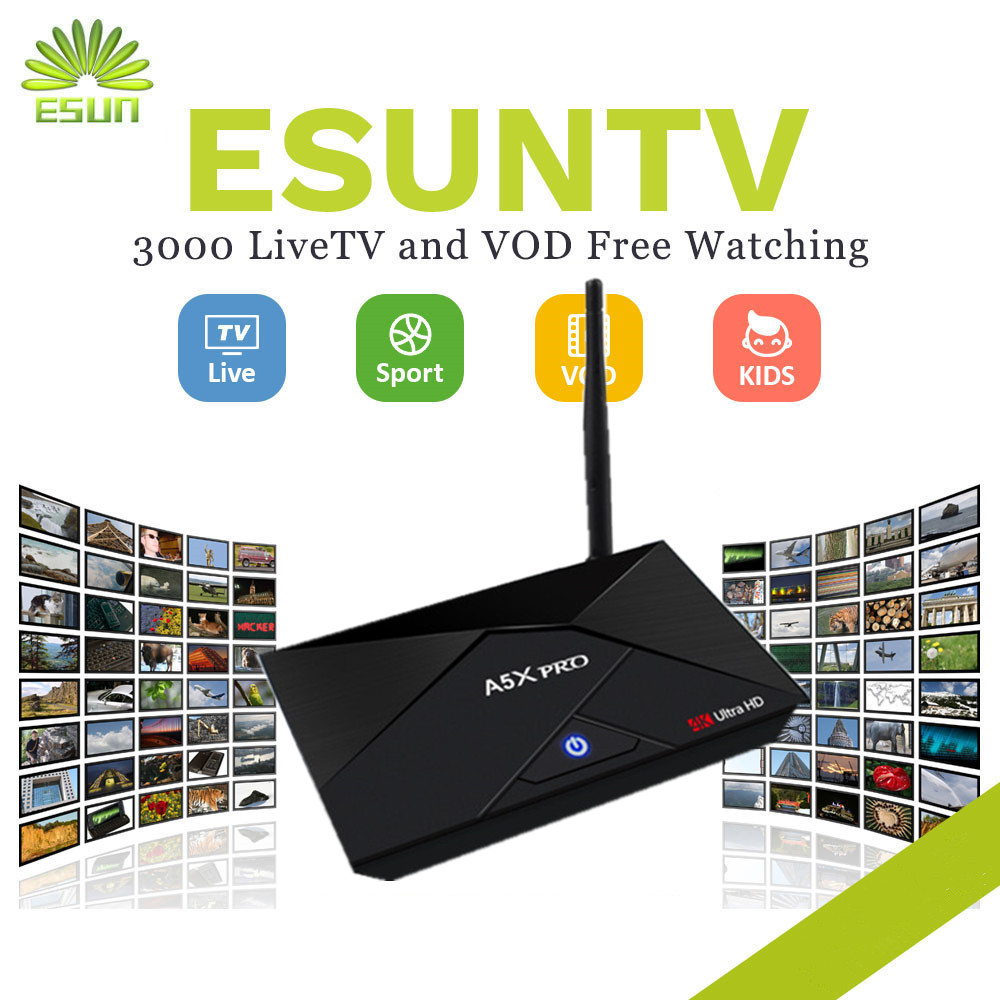 A5X PLUS Mini 1/8G A5X PRO 2/16G Android TV Box With 1 Year ESUNTV installed Arabic IPTV Europe IPTV Italy IPTV French IPTV BOX kii pro android 5 1 1 tv box built in 2 4g