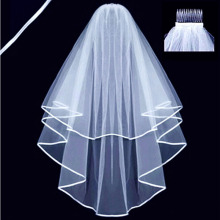 2 Layers white Ivory Pearl Elbow Length Satin Edge Wedding Bridal Veil with Comb