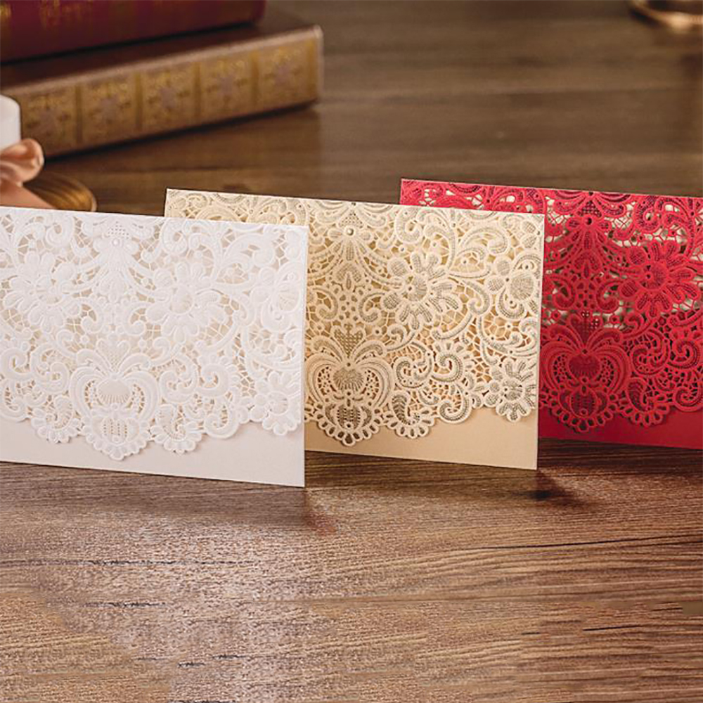 4 Color Design Floral Embossing Elegant Wedding Invitations Laser Cut Pocket Fold Printable Blank Cards Convite Do Casamento Card Design Software Free Invitation Folderscard Shop Aliexpress