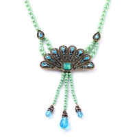 Clearly Color Summer Hot Sale Set Sapphire Peacock Feathers Beads Chain Tassel Necklace