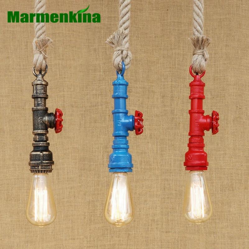 Loft industriel fer tuyau d'eau vapeur punk Vintage suspension lampe cordon E27 chanvre pendentif lumière pour bar restaurant personnalisé