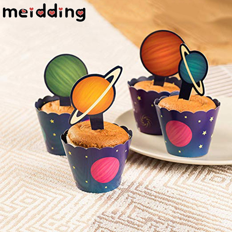 Outer Space Solar System Cupcake Topper Wrapper Happy Birthday Party Spaceship Astronaut Rocket Robot Theme Party Cake Decor ru aliexpress com мотоутка