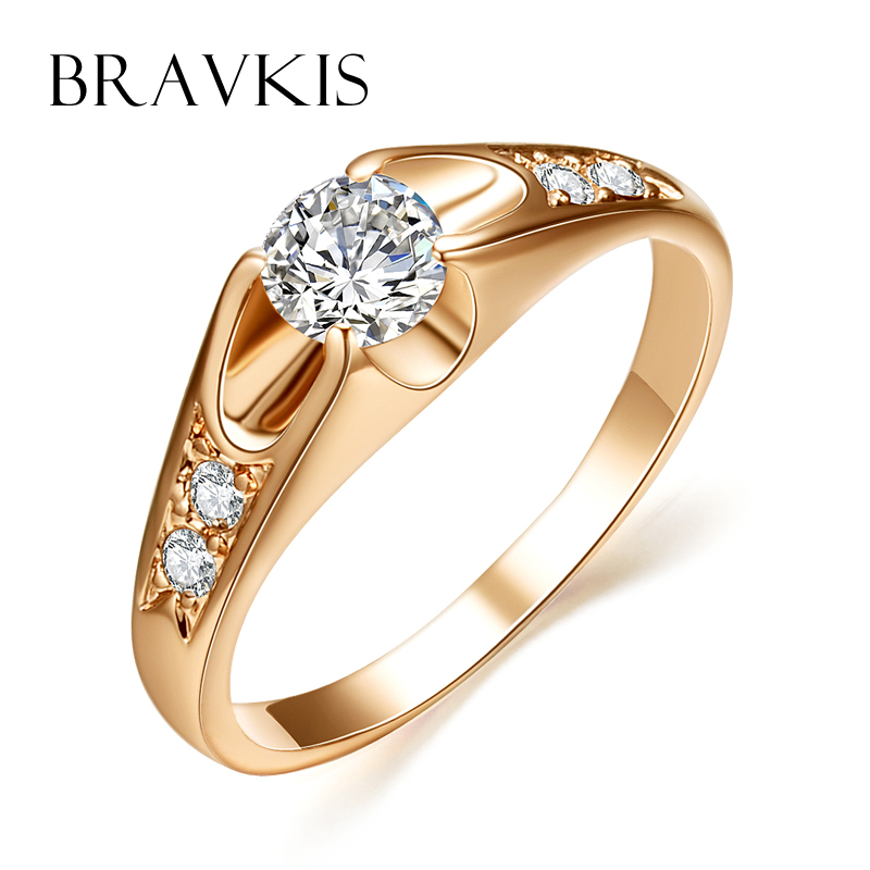 bravkis vintage wedding bands solitaire rings for women accent cz stone engagement rings bague mujer moda anillos jewel bjr0064a