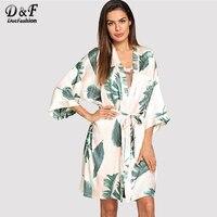 Dotfashion Tropical Print Self Tie Robe Pajamas For Women 2019 Summer Casual Sleepwear Spring V Neck Half Sleeve Dressing Gown