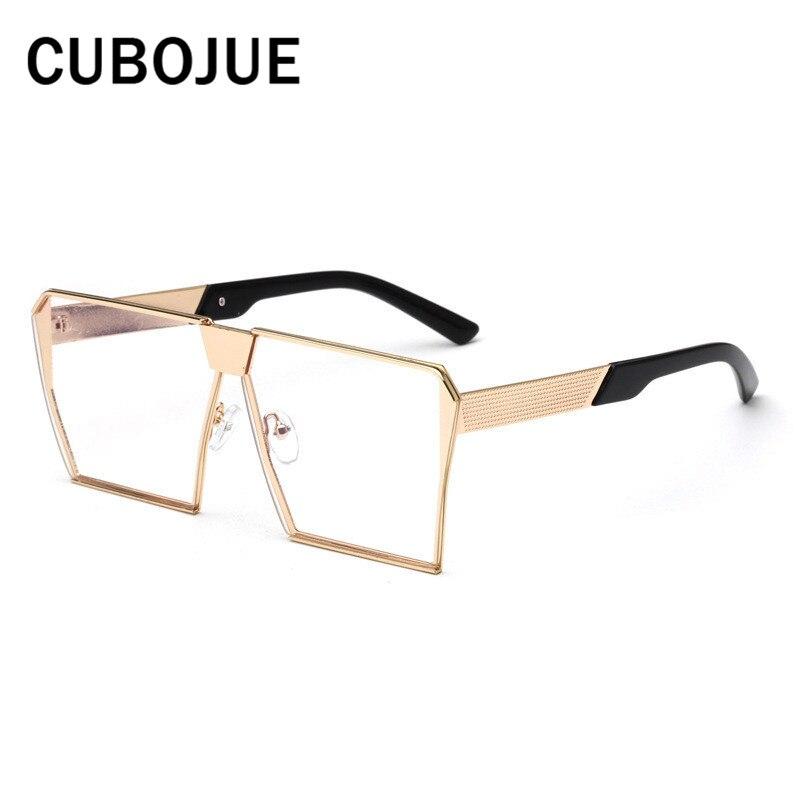 Damenbrillen Cubojue Übergroßen Computer Brille Frauen Anti Blau Strahlung Brillen Rahmen Für Weibliche Platz Metall Große Gesicht Brillen Make-up SorgfäLtige FäRbeprozesse