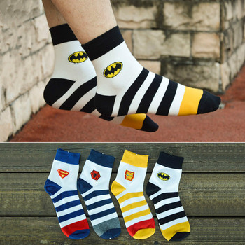 new mens pure cotton socks super hero cartoon simple fashion street Harajuku personality