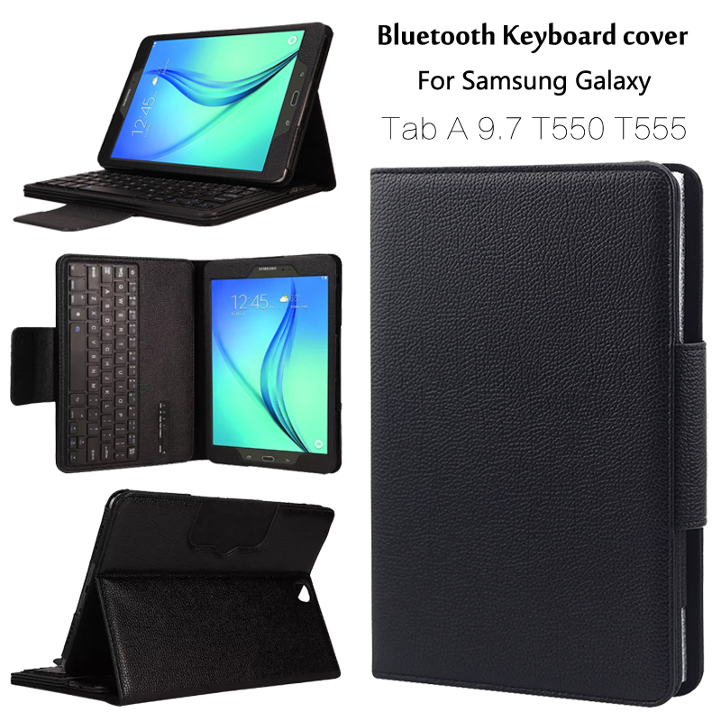 Case For Samsung GALAXY Tab A 9.7 T550 T555 P550 <font><b>P555</b></font> Removable Bluetooth Keyboard Portfolio Folio Cover Case image