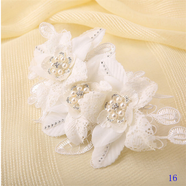 Vintage Head Embellishments with Pearls 2016 Flowers Hairpins Wedding Hats Beaded Handmade for Brides Wedding Accessories