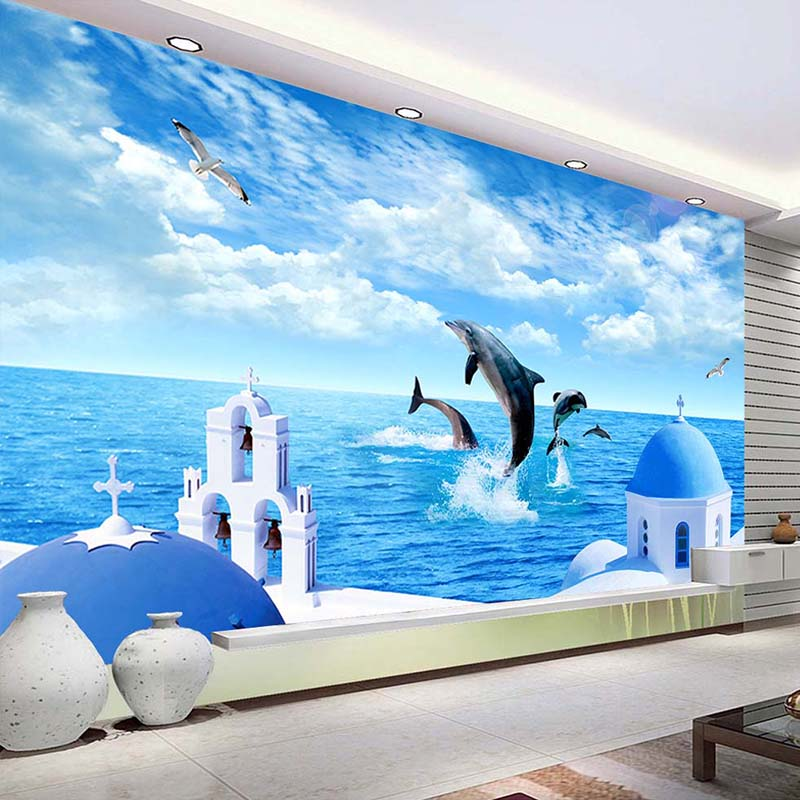 Custom 3D Photo Wallpaper Blue Sky White Clouds Ocean Sea Island Dolphin Living Room Sofa TV Background Decoration Wall Painting children room blue sky ceiling wallpaper white clouds wallpaper for kids bedroom blue sky and white clouds wallpaper paper roll