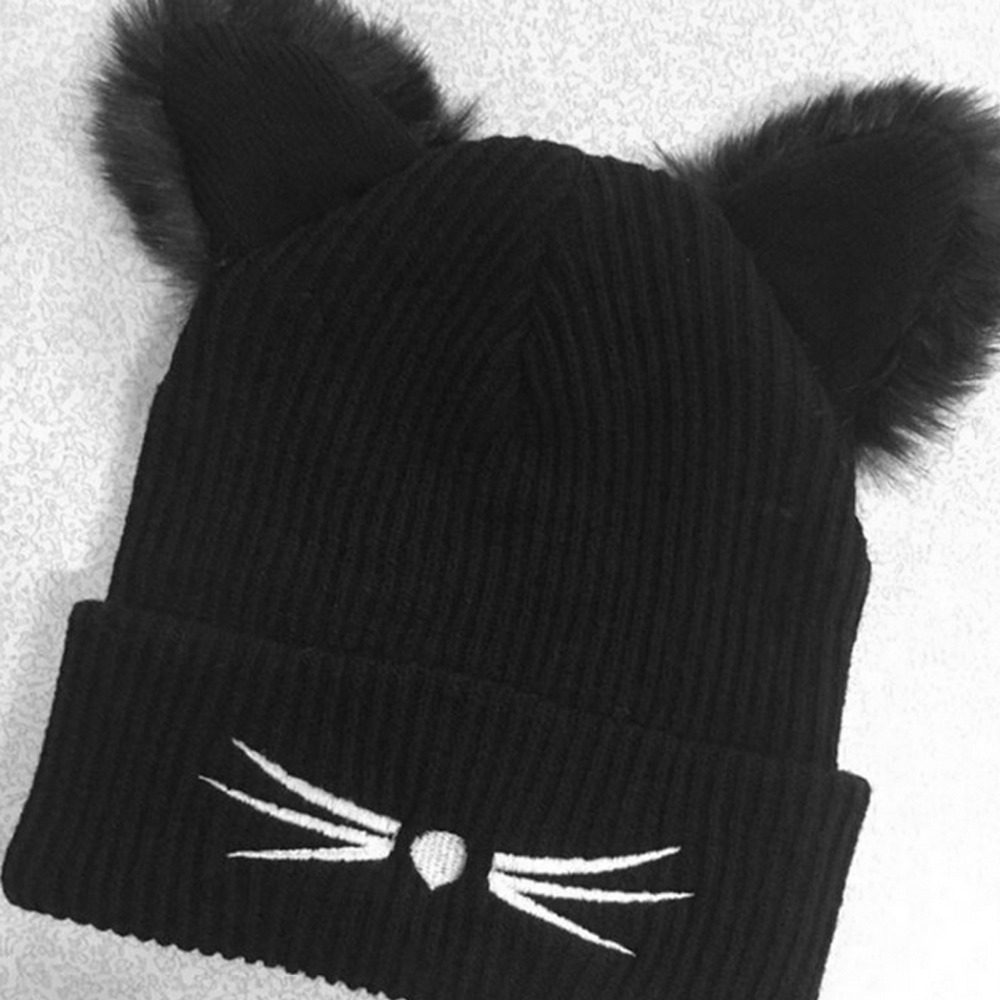 cute women Beanie Devil Horns Black Cat Ear Crochet Braided Knitted Fur