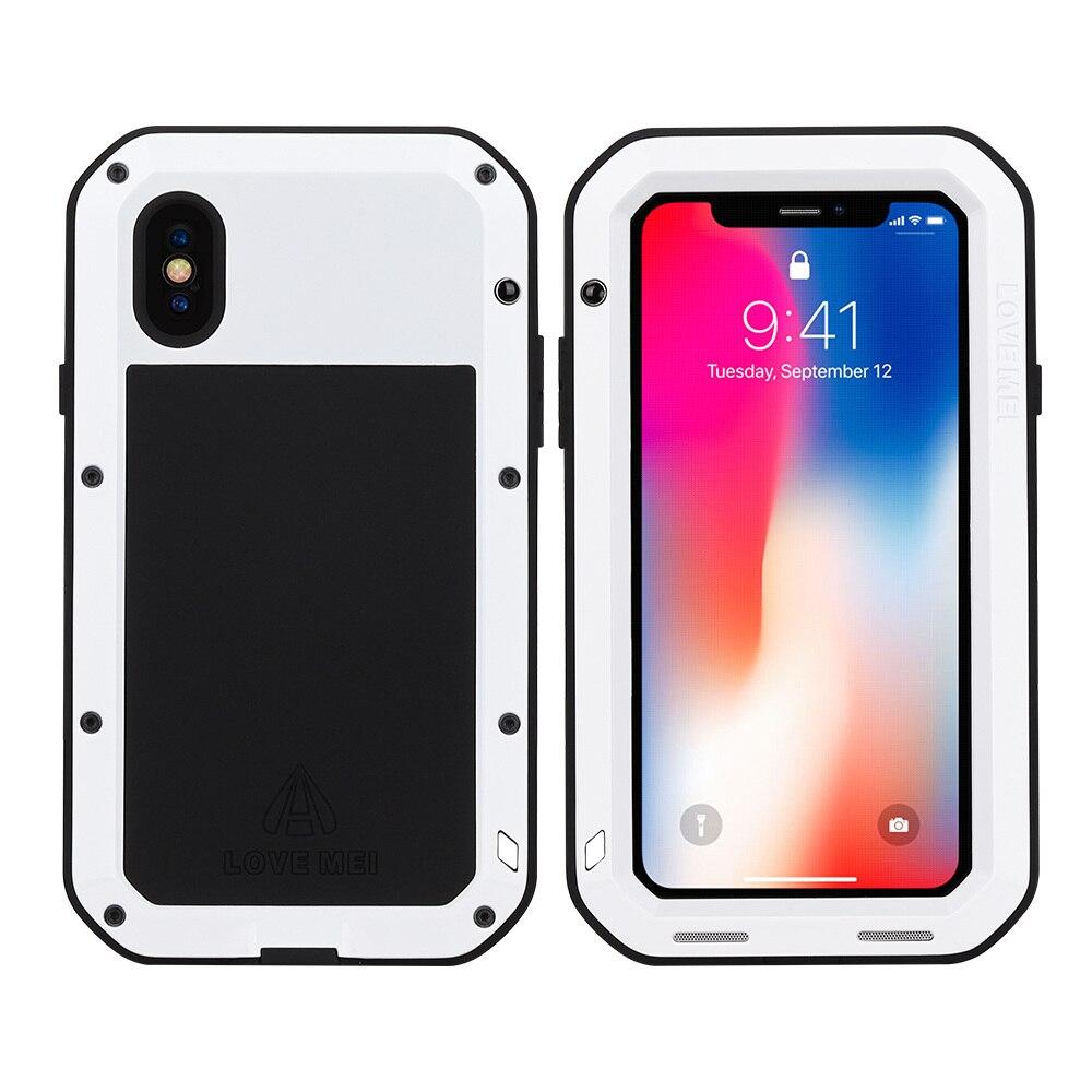 Для iphone XS Max XR X чехол для телефона сверхмощная Защитная обшивка из металлического твердого закаленного стекла iphone xs xsmax полная силиконовая крышка для телефона - Цвет: White