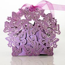 20pcs/lot Hollow Square Butterfly Flower Chocolate Candy Box Wedding Chocolates Bags Baby Shower Gifts