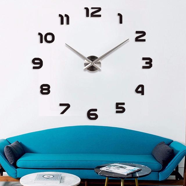 2017 New Metal Moderm DIY Wall Clock Acrylic Metal Mirror Wall Watch home decoration Super Big Clocks130cm x130 cm Freeshipping