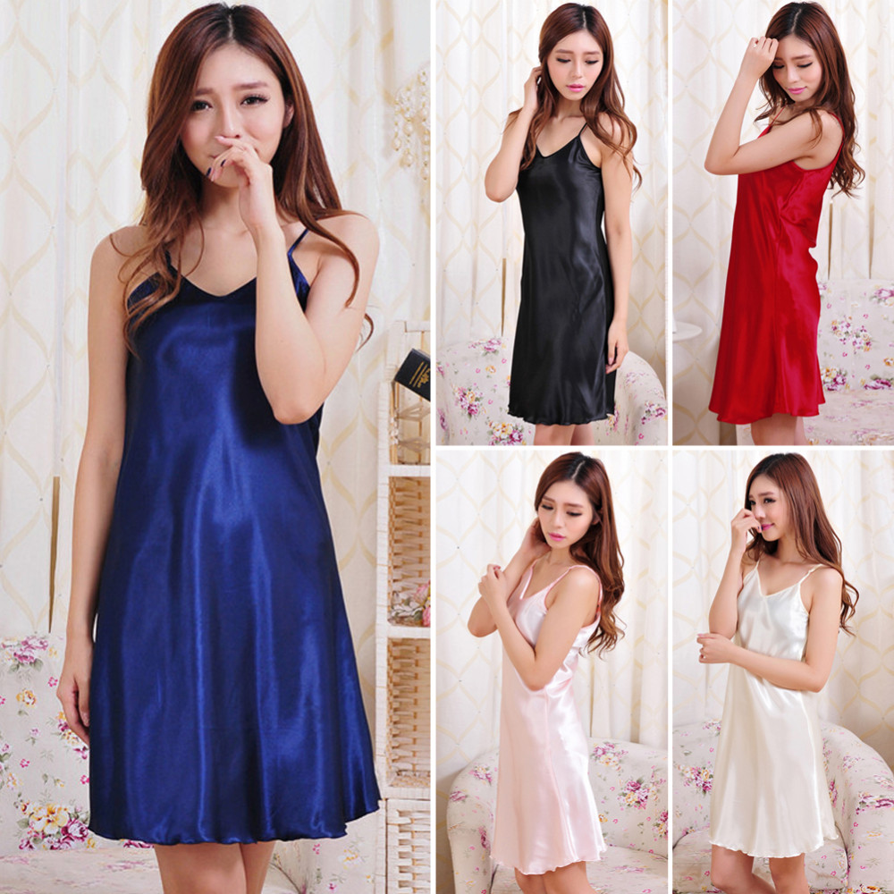 2018 New Plus Size Summer Women Nightwear  Nightgowns Tempatation Deep V Straps Skirts Silk Sleepwear Night Dress