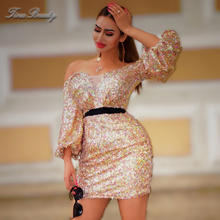 Tina Beauty 2019 Summer Cocktail off shoulder Latern Sleeve Sequin Dress Sexy Clubnight Shinning Foil Mini Party Dresses