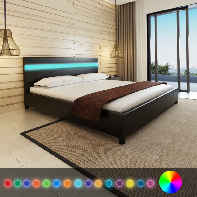Ikayaa Black Bed Modern Design Artificial Leather Solid Wood Bedroom Furniture Home With Led Es